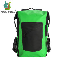 La couleur verte personnalisé sac à dos Sac de Sport sèche étanche avec bretelles