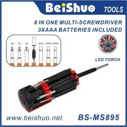 8-in-1 multifunctionele draagbare schroevendraaier met 6 LED's Lichten
