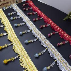 Mode de gros de perles en Cristal Tassel Fringe pour décoration Rideau