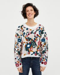 Dames Embroidered Sweater Met Sequins