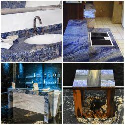 Azul Баия, Бразилия синий Баия гранитные столешницы в левом противосолнечном козырьке для ванной комнаты