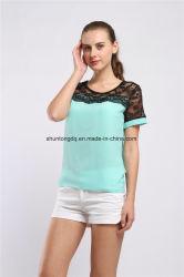 A blusa Chiffon Blusa ocasional Feminina do laço do verão das blusas das mulheres cobre camisas de Femme do Chemise da forma mais a cor-de-rosa branca vermelha do tamanho 5XL
