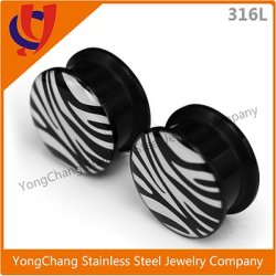 AcrylEar Plug&Tunnel Jewelry Body Piercing Jewelry für Ear Expand mit Zebra-Stripe