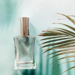 50ml rechargeables carré de luxe de la vis de pulvérisation verre vide bouteille de parfum avec la pompe de pulvérisateur et capuchon en aluminium