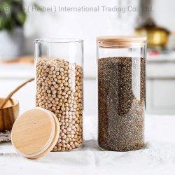 تخزين الطعام الزجاجي حاويات مع مجموعة من أغطية الخيزران محكمة الغلق من 3 علب من زجاج المطبخ للكرز بالقهوة القهرية جرجير المكسرات