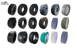 Buena Chunking y cortar los neumáticos de caucho sólido de propiedades de resistencia de neumáticos para remolques de carretillas elevadoras de tijera ascensores cargadores Cestas alcanzar Stacker