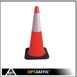 Coni australiani riflettenti di traffico del PVC della base del nero di sicurezza della costruzione di strade di sicurezza della carreggiata