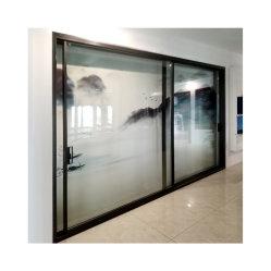 النوع 120 تصميم جديد ضيق للغاية منزلق من الألومنيوم مزدوج الزجاج أبواب زجاجية