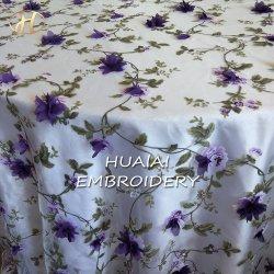 Ronda Roxo Hualai Organza Flower Bordados pano de mesa para casamento