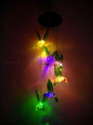 Colibrí Panel de la Energía Solar LED de inundación del sensor de par Wind Chime Maceta impermeable al aire libre en el techo del árbol de la Calle Jardín de césped Decoración lámpara de luz