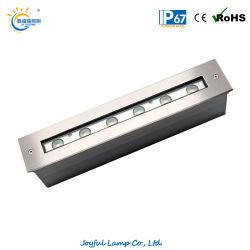 IP67 6W 12W 18W à LED bande de lumière linéaire Inground Lumière linéaire encastré Inground mur laver de la lumière avec couvercle avant en acier inoxydable pour le paysage de l'éclairage