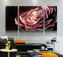 """Paroi métallique de fleur d'Art Contemporain Peinture décoration- Red Abstract Set de 3 Panel - la pendaison de Sculpture de 50"""" X 24"""""""
