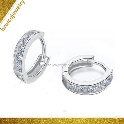 Incrustaciones de diamantes de fantasía Bisutería moda ronda 925 Aro Huggie Sterling Silver Earring para niñas