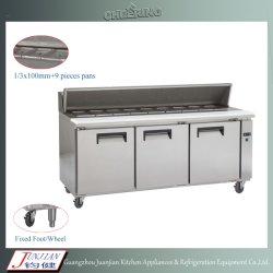 Вентилятор системы охлаждения двигателя электрический нержавеющая сталь холодильник по горизонтали / охлажденных Пицца Prep таблица / холодильник под столом