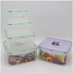 Almacenamiento de nido de almacenamiento de alimentos de plástico contenedores situados con tapas herméticas microondas Caja de seguridad, 8 piezas