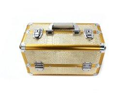 새로운 패션 ABS 이중 오픈, 4개의 트레이 PU 라이닝 골든 컬러 알루미늄은 알루미늄 코스메티케이스(Aluminum Cosmeticcase)를 만듭니다