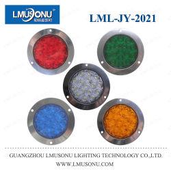 Lmusonu Jy-2021 Edelstahl rund 12 V 24 V 5 W Rot-Weiß Gelb Grün LED Rückleuchte Blinklicht für Jeep Truck