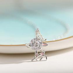 方法宝石類の女の子のギフトのかわいい925人の純銀製のSikaの韓国のシカの吊り下げ式のネックレスの上品な女性の結婚式の鎖骨の鎖