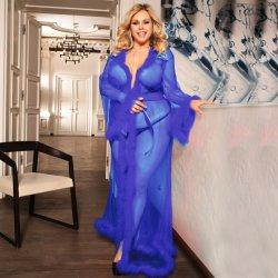 Плюс размер голубой свадебные Sexy уникальные халаты с мех