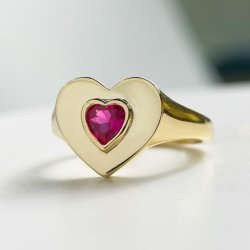 18K banhado a ouro Pedra Ring 925 Sterling Anel de Prata