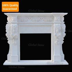 Manteau de cheminée en pierre blanche entourent une cheminée en marbre avec des fleurs Sculpture de Mantel (GSMF-100)