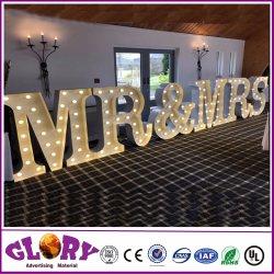 При отклонении от нормы свадьбы Руководство по ремонту и миссис больших 3D-ламп бегущей строкой букв