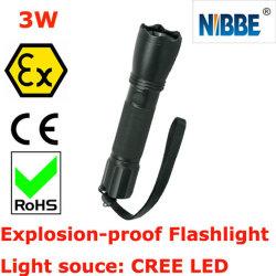 L'eau portable & résistant aux chocs antidéflagrante ATEX lampe de poche 3W