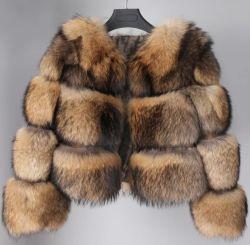 2021 Fashion da verdadeira Raccoon curto casaco de peles com pêlo de alta qualidade gola redonda