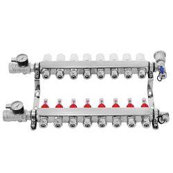 مورد مقياس التدفق المشع تحت الأرضية PEX مجمع التسخين مع هيكل من الفولاذ الذي لا يصدأ مع حلقات من 2 إلى 12 حلقة