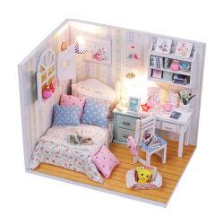 Деревянная игрушка комплекта куклы для детей 2 лет вверх воспитательной Обучение хорошо меблированные Dollhouse для детей Детские мальчики девочки Семья С освещением ящика для хранения