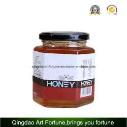 Hexagon en pots de verre pour la nourriture et de miel avec capuchon métallique