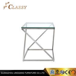 Felix fin Table latérale trempe plateau en verre de café de châssis en acier inoxydable brossé