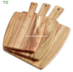 Natürliche Akazien-hölzerner Ausschnitt-Vorstand mit Griff-Käse-Vorstand-Umhüllung-Tellersegment mit Griff
