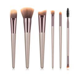 أداة تنظيف الوجه الفاخرة Kabuki Foundation Face Powder Blush Eye Shadow Brush طقم فرشاة المكياج، 6 قطع من أدوات فرشاة المكياج الاحترافية، فرشاة التجميل