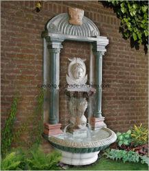 L'extérieur statue en marbre jaune figure fontaine à eau, Mur Fontaine pour jardin Deoration