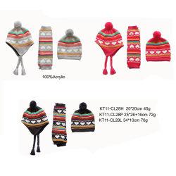 Insieme di lavoro a maglia del cappello di Legwarmer del jacquard del cuore di modo caldo di inverno dei bambini