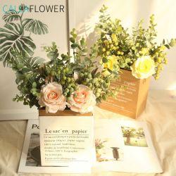Fake decorativa Seda Rosa Artificial Rose Flower Bouquet de Casamento Dy1-2299