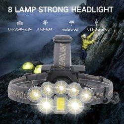 Super brillante faro 8 LED recargable USB portátil de Faros Faros de caza Camping impermeable 18650 Batería