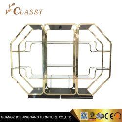Armoire à vin en bois MDF Étagère avec Golden châssis en acier inoxydable et de volet de verre