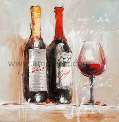 Ручная работа впечатляющий бутылок вина картины маслом для монтажа на стену оформление