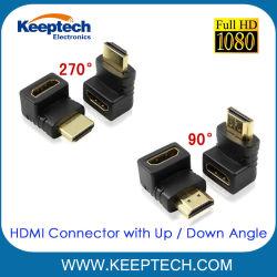 Wijfje HDMI aan de Mannelijke Schakelaar van de Vergroting met de omhooggaande Hoek van de Draai van de Hoek van de Draai Beneden voor HDTV 1080P