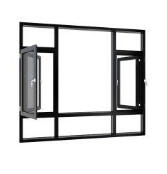 Классическая черная алюминиевая дверная рама перемещена окна гостиной с решетки/экран
