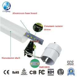 SKD LED フルプラスチック PC ナノチューブ 18W 1.2m 85-265V CE RoHS で 2 年間保証
