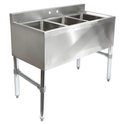 3 compartiment Bar de cuisine commercial en acier inoxydable les puits