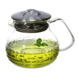 Infuser amovible plaque de cuisson pour four coffre-fort bouilloire filtre en verre Blooming et Ensemble de théière à feuilles volantes