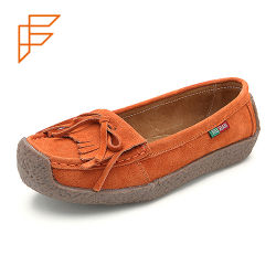 Topsionの傾向は履物の広州の服靴の女性の平らななまけ者に蹄鉄を打つ
