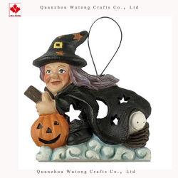 Volo d'attaccatura del mestiere della resina con la decorazione di Halloween della strega del fantasma della zucca