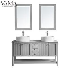 Vama 60 pouces de conception classique de l'hôtel Salle de bains Vanity définit un lavabo double et un miroir 756060