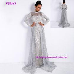 Vintage высокой шеи длинными рукавами дам' игристое Silver Свадебное платье
