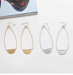 Bohemian bijoux pour femmes de l'or brossé Teardrop creux avec crochet cerceau en alliage de zinc Earrings